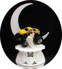 Big yellow MONSTER TRUCK  4 wheeler Wedding Cake Topper groom TOP Funny racing