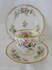 Vintage MOSS ROSE England ROSLYN CHINA cup saucer plate TRIO pink roses gold rim