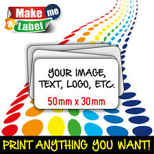 90 FULL COLOUR or Plain (50*30) Self Adhesive/sticky Paper Labels CUSTOM PRINTED