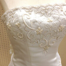 ST. TROPEZ WHITE STRAPLESS WEDDING GOWN DRESS SILVER PEARL EMBROIDERY SIZE SMALL