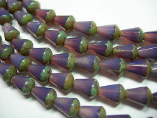 18 Czech Glass Purple Opal Picasso Faceted Teardrop Beads 8x5mm