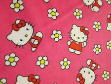 Hello Kitty Flower Pink Flannel Fabric BTHY OOP