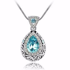 Free shipping Womens 9K White Gold Filled AAA CZ Crystal Necklace & Pendant C63