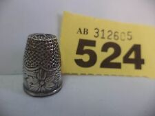 Vintage Continental / Scandinavian Solid Silver Thimble with Floral Decoration
