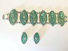 Highly Domed Swirl Green Glitter Confetti Lucite Sea Shells Bracelet Earrings