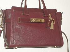 COACH 34816 BURGUNDY SWAGGER 27 CARRYALL SATCHEL in PEBBLED LEATHER NEW W/ TAGS