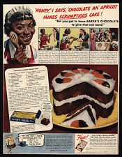 1939 Baker's Chocolate Apricot Cake Recipe - Black Cook/Maid Racist Dialect - AD