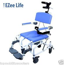 "Tilt Aluminum Shower Commode Chair Adjustable 18"" Toilet Seat 250 lbs. Tilting"