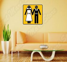 "Bride Groom Husband Marriage Funny Wall Sticker Room Interior Decor 22""X22"""