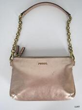 FOSSIL S Metallic Gold Leather Handbag Zip Top Brass Chain Strap Wristlet EUC