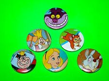 SET OF 6 ALICE IN WONDERLAND DISNEY BUTTON PIN BADGES
