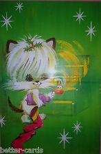 VINTAGE ANNI'70 regalo di Natale Carta da pacco ~ HAPPY MERRY CARINO GATTO GATTINO