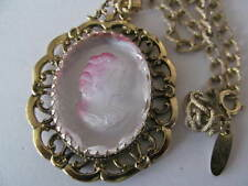 WHITING & DAVIS GOLD PLATED ORNATE PIERCED DESIGNED w/CAMEO PENDANT NECKLACE