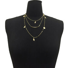 Summer Beach Gold Silver Chain Beads Leaves Pendant Multi Layer Necklace Fashion