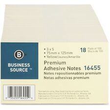 "Business Source Adhesive Note Pads Plain 3""x5"" 100 Sht/PD 18/PK Yellow 16455"
