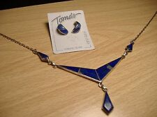 Sterling Silver Lapis Necklace and Toma's Lapis Half Hoop Earrings - 11.6 Grams