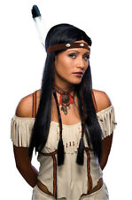 Womens Indian Wig Headband Feather Hair Long Black Straight Native American Sexy