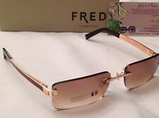 GORGEOUS! FRED LUNETTES PINK GOLD IGUANA/BROWN VINTAGE HAWAI F1 COL204 SUNGLASS