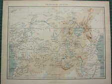 c1890 ANTIQUE MAP ~ EQUATORIAL AFRICA ~ VICTORIA NYANZA MOZAMBIQUE