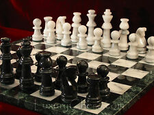 Marble Chess Set, NEW wth 18in Marble Board, Large Black & White Marble Pieces