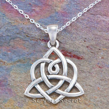 925 Sterling Silver TRIQUETRA Irish Trinity Knot HEART Pendant Celtic Necklace
