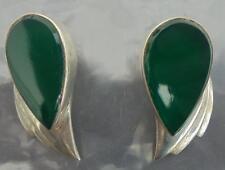 Vendimia verde Onyx & década de 1980 pendientes de plata esterlina 925 Retro nupcial