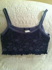 NWT LEI Blue Floral Bare Belly Tank Top Shirt Clubwear