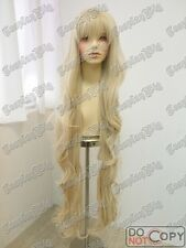 """115cm 45"""" SUPER LONG wavy curly PALE LIGHT BLONDE cosplay WIG FREE SHIPPING"""