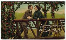 "Vintage Postcard Romance Love Valentine ""I Would Like To Be Your Girlie:"" Posted"