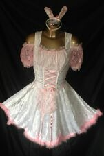 PINK SISSY BUNNY MAIDS DRESS AND WHITE SILKY SATIN RUFFLES TV DRESS SIZE small