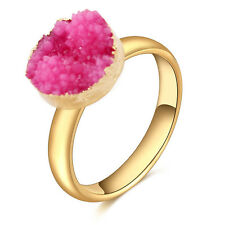 Fashion Stainless Steel Gold Plated Natural Stone Crystal Charming Ring