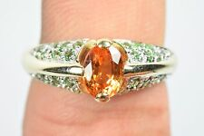 Ladies 1.42tcw 10k Solid Gold Citrine Emerald Natural Stones Cocktail Ring