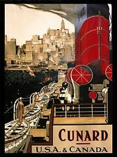 PRINT POSTER TRAVEL SHIP BOAT OCEAN LINER CITY HARBOUR USA CANADA NOFL1366
