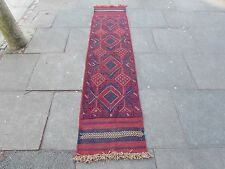 Old Hand Made Afgano Tribale mushvani Oriental Rosso Lana stretto RUNNER 254x58cm