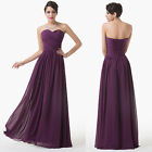 Women Sexy Strapless Long Chiffon Evening Bridesmaid Party Prom Dress Size 6-20