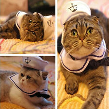 Pet Puppy Cat Small Dog Sailor Suit Adjustable Outfit Costume Hat & Cape White
