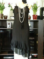 H&M Black Beaded Vintage Style 1920's Flapper Cocktail Cruise Prom Dress Size 38