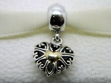NEW!! AUTHENTIC PANDORA CHARM 2-TONE FILLED WITH LOVE DANGLE #791274 HINGED BOX