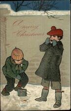 Christmas - Children Paint on Brick Wall PFB c1910 Postcard