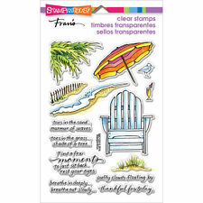 Stampendous Clear Stamps - Seaside Chair - Beach Umbrella, Holiday, Waves