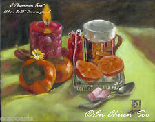 Still-life Original oil painting - A Persimmon Treat - Autumn fruits 2000-Now