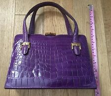 VINTAGE GUCCI CROCODILE SKIN BAG ORIGINAL 1940's REFURBISHED GENUINE PURPLE
