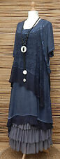 LAGENLOOK*KEKOO*OVERSIZE LAYERING QUIRKY 2 PCS DRESS+OVERTOP*NAVY BLUE*Size L