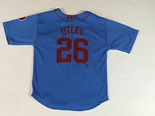 Chase Utley 1980s Style BLUE Adidas CC Phillies YOUTH Baseball Jersey  M (10-12)