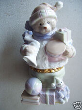 "Bear Snow Man Shape Gift Ring Holder Jewel Trinket Box 6"" Tall Porcelain China"