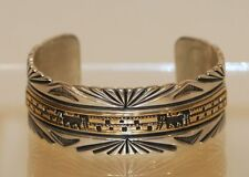 B. Morgan 14K Yellow Gold & Sterling Silver Navajo Cliff Dwelling Cuff Bracelet