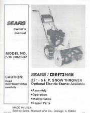 "Sears 22"" 5 H.P Snow Thrower Blower MANUAL 536.882502 *FREE S/H*"