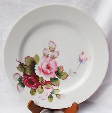 "10"" VINTAGE WHITE CHINA DINNER PLATE HAND-PAINTED ROSES/ROSEBUD OCCUPIED JAPAN"
