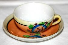 VINTAGE CHILD'S TOY CERAMIC TEA CUP & SAUCER * LUSTER WITH FLOWERS