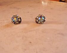 Fashion Earrings Blue Stone Cluster ear clamp clip on Estate Vintage